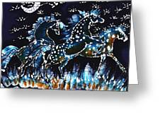 Horses Frolic On A Starlit Night Greeting Card by Carol Law Conklin