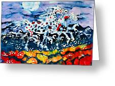 Horses Prance On Flower Field In Summer Moon Greeting Card