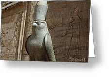 Horus The Falcon At Edfu Greeting Card by Bob Christopher