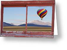 Hot Air Balloon And Longs Peak Red Rustic Picture Window View Greeting Card