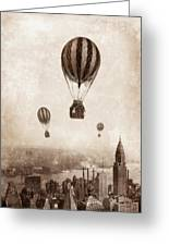 Hot Air Balloons Over 1949 New York City Greeting Card