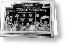 Hotdog Eating Contest Time In Black And White Greeting Card