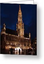 Hotel De Ville De Bruxelles At Night Greeting Card