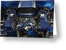 Hotrod Engine In Blue Greeting Card