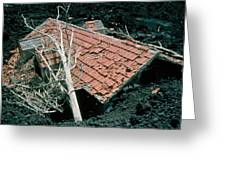 House And Lava Flow Greeting Card