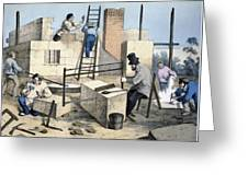 House Construction, 19th Century Artwork Greeting Card