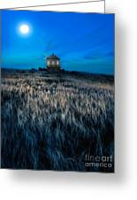 House On The Prairie Under A Full Moon Greeting Card