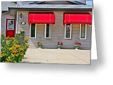 House With Red Shades. Greeting Card