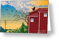 House With Satellite Dish Retro Greeting Card by Aloysius Patrimonio
