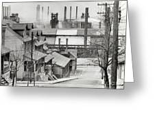 Houses And Steelmill Greeting Card