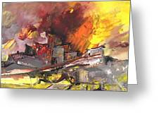 Houses In Fire Greeting Card