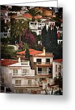 Houses On The Hill Nerja Greeting Card by Mary Machare