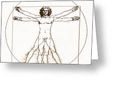 Human Body By Da Vinci Greeting Card