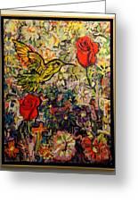 Hummingbird And Roses Greeting Card