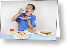 Hungry Boy Eating Lot Of Cake Greeting Card