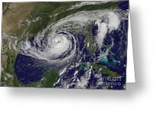 Hurricane Isaac In The Gulf Of Mexico Greeting Card