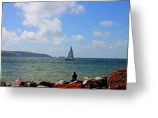 Hurst Point Watching  Greeting Card