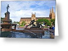 Hyde Park Fountain And St. Mary's Cathedral Greeting Card