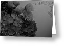 Hydrangea Boquet Black And White Greeting Card
