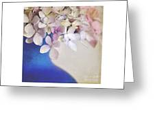 Hydrangeas In Deep Blue Vase Greeting Card