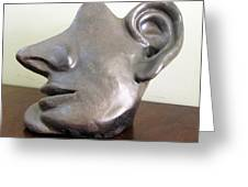 I Am All Ears Head Face With Ears Only Large Nose No Eyes Huge Ears Greeting Card by Rachel Hershkovitz
