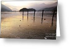 Ice On A Lake In Sunset Greeting Card