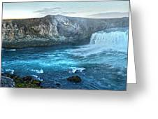 Iceland Godafoss Waterfall Panorama Greeting Card