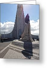 Iceland Leif Erricson Statue 02 Greeting Card