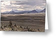 Iceland Stacked  Rocks Panorama Greeting Card