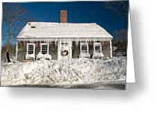 Icicles Hang From The Roof Of This Home In Barnstable On Cape Co Greeting Card
