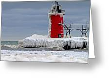 Icy South Haven Mi Lighthouse Greeting Card