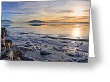 Icy Sunset On Utah Lake Greeting Card