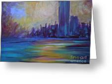 Impressionism-city And Sea Greeting Card by Soho