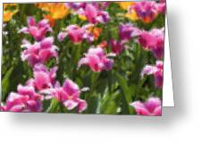Impressionist Tulips In A Field Greeting Card