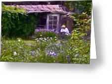 In The Iris Garden Greeting Card