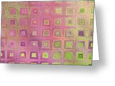 In The Pink With Squarish Squares  Greeting Card