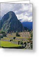 Inca Structures Stand Below Mount Greeting Card