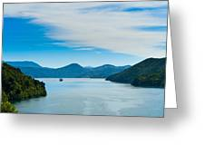 Incoming Ferry Through A Fjord  Greeting Card