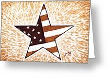 Independence Day Star Usa Flag Coffee Painting Greeting Card by Georgeta  Blanaru