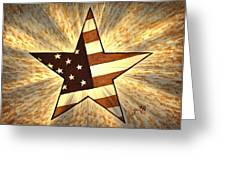Independence Day Stary American Flag Greeting Card by Georgeta  Blanaru