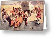 Indians Attacking A Pioneer Wagon Train Greeting Card