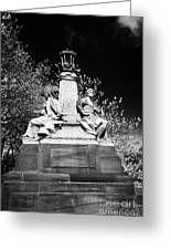 industry and commerce bronze sculpture on the kelvin way bridge kelvingrove park Glasgow Scotland UK Greeting Card