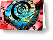Infinity Time Cube Blue On Red Greeting Card