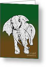 Inked Elephant In Green And Brown Greeting Card