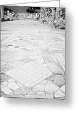 Inscription In The Floor Tile Of The Gymnasium Stoa Ancient Site Salamis Famagusta Greeting Card by Joe Fox