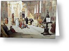 Inside Holy Specular Church In Jerusalem Greeting Card