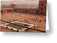 Inside Jama Masjid In The Huge Courtyard Greeting Card