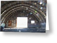 Interior Of Abandoned Farm Equipment Shed Greeting Card by Paul Edmondson