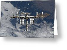 International Space Station Backgropped Greeting Card