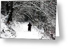 Into The Snowy Forest Greeting Card